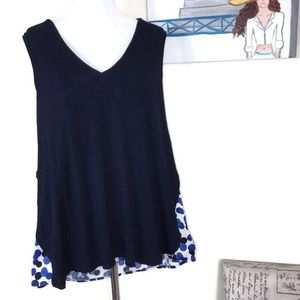 Deletta Anthropologie Navy Blue Sleeveless Top XL
